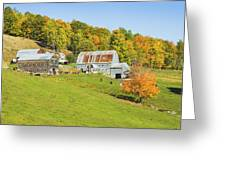 Maine Farm On Side Of Hill In Autumn Greeting Card