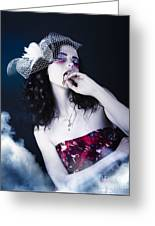 Makeup Beauty With Gothic Hair And Bloody Mouth Greeting Card
