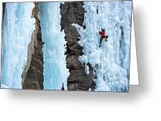 Man Ice Climbing In Ceresole Reale Ice Greeting Card