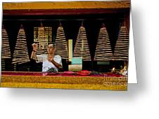 Man Lighting Incense In Chinese Temple Vietnam Greeting Card