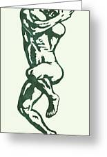 Man Nude Pop Stylised Etching Art Poster  Greeting Card