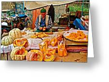 Man Peeling Squash In Antalya Street Market-turkey Greeting Card