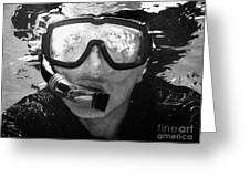 Man Snorkeling With Mask And Snorkel In Clear Water Dry Tortugas Florida Keys Usa Greeting Card