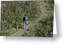 Man With A Canon Camera And Lens In Greenery Greeting Card