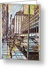Manhattan On Map Greeting Card by William Cauthern