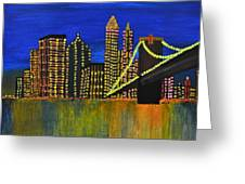 Manhattan Skyline Greeting Card by Shruti Prasad