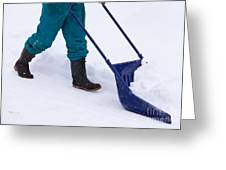 Manual Snow Removal With Snow Scoop After Blizzard Greeting Card