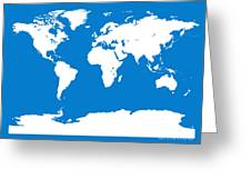 Map In Blue And White Greeting Card