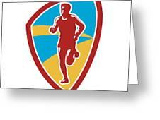 Marathon Runner Shield Retro Greeting Card by Aloysius Patrimonio