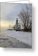 Marblehead Lighthouse Winter Sunrise Greeting Card