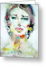 Maria Callas - Watercolor Portrait.2 Greeting Card