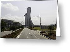 Marina Bay Sands And Singapore Flyer As Seen From A Distance Greeting Card