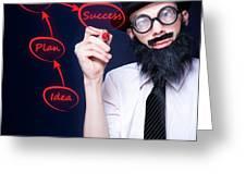 Marketing Business Man Drawing Success Diagram Greeting Card