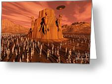 Martians Gathering Around A Monument Greeting Card