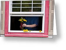 Mature Woman Cutting Flowers In Window Greeting Card