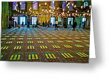 Men Inside The Blue Mosque In Istanbul-turkey Greeting Card