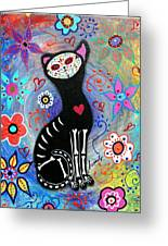 Meow II Day Of The Dead Greeting Card
