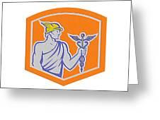 Mercury Holding Caduceus Staff Shield Retro Greeting Card