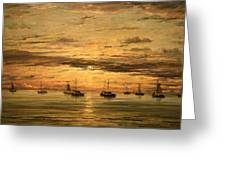 Mesdag's Sunset At Scheveningen -- A Fleet Of Shipping Vessels At Anchor Greeting Card