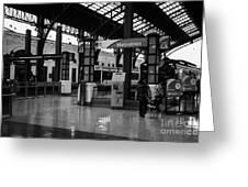 metrotren platforms in Santiago central railway station Chile Greeting Card