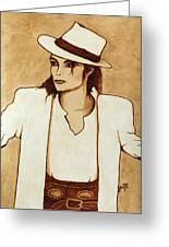 Michael Jackson Original Coffee Painting Greeting Card
