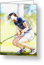 Michelle Wie Reacts After Missing A Putt On The 15th Hole Greeting Card