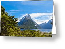 Milford Sound And Mitre Peak In Fjordland Np Nz Greeting Card