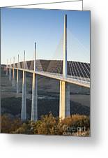 Millau Viaduct At Sunrise Midi-pyrenees France Greeting Card