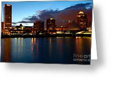 Milwaukee Skyline At Dusk Greeting Card