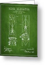 Mine Elevator Patent From 1892 - Green Greeting Card