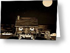 Miniature Log Cabin Scene With Old Vintage Classic 1930 Packard Labaron In Sepia Color Greeting Card