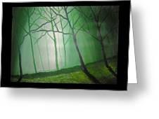 Misty Green Greeting Card by Haleema Nuredeen