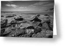 Misty Rocks Bw Greeting Card