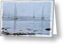 Misty Sails Upon The Water Greeting Card