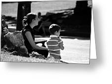 Mom And Son In The Park Greeting Card