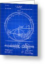 Monocycle Patent 1894 - Blue Greeting Card