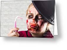 Monster Holding Sad Toothbrush. Rotting Teeth Greeting Card