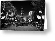 Monument To The Castellers On Rambla Nova Avenue In Central Tarragona Catalonia Spain Greeting Card