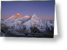 Moon Over Mount Everest Summit Greeting Card
