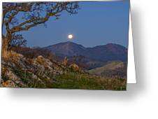 Moon Over Mt Diablo Greeting Card