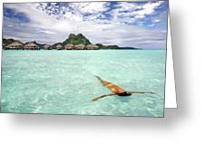 Moorea Woman Floating Greeting Card