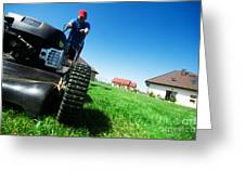 Mowing The Lawn Greeting Card