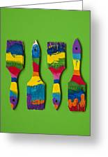 Multicolored Paint Brushes On Green Background Greeting Card