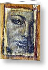 Mysterious Girl Face Portrait - Painting On The Wood Greeting Card