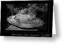 National Park Service Ranger Hat Black And White Greeting Card