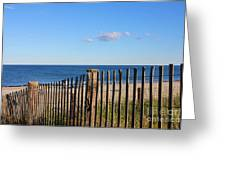 New England Beach Past A Fence Greeting Card