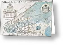 New York City Map, 1728 Greeting Card