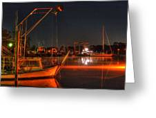 Night In The Harbor Greeting Card