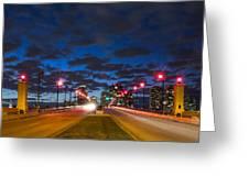 Night Lights Greeting Card by Debra and Dave Vanderlaan