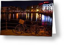 Night Lights On The Amsterdam Canals. Holland Greeting Card